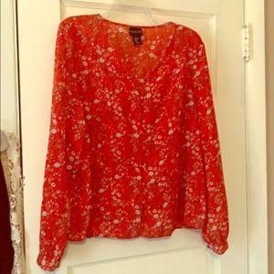 Rachel Zoe Red Flowered Blouse